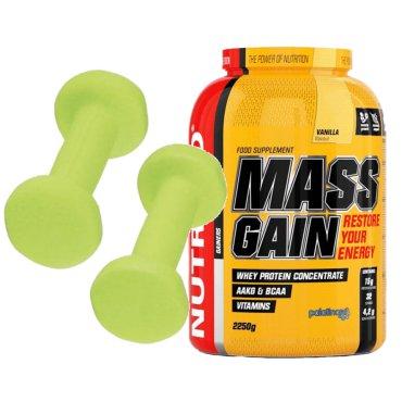 Sportovní výživa - MASS GAIN 1000g čokoláda +2kg činky
